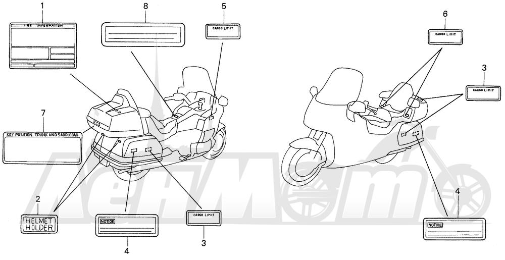 Запчасти для Мотоцикла Honda 1996 GL1500SE Раздел: CAUTION LABEL (1) | предупреждение этикетка, метка (1)