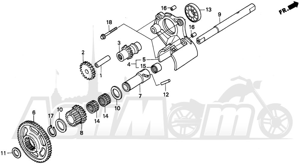 Запчасти для Мотоцикла Honda 1996 GL1500SE Раздел: REVERSE GEAR | шестерня передачи заднего хода