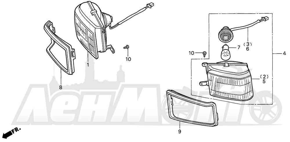 Запчасти для Мотоцикла Honda 1996 GL1500SE Раздел: SE CORNERING LAMP | SE CORNERING лампа