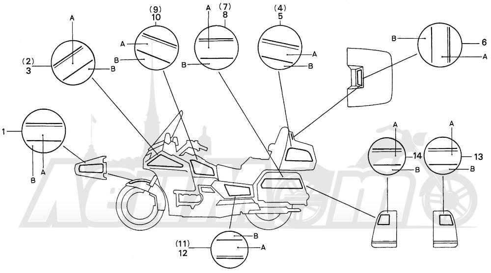 Запчасти для Мотоцикла Honda 1996 GL1500SE Раздел: SE STRIPE | SE STRIPE