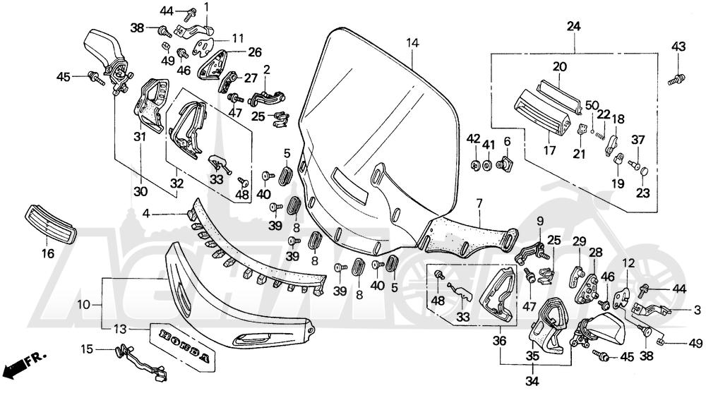 Запчасти для Мотоцикла Honda 1996 GL1500SE Раздел: SE WINDSCREEN | SE ветровое стекло