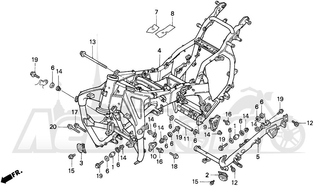 Запчасти для Мотоцикла Honda 1996 GL1500SE Раздел: FRAME   рама