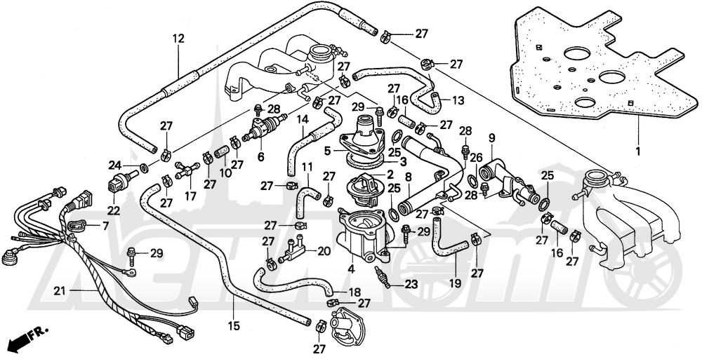 Запчасти для Мотоцикла Honda 1996 GL1500SE Раздел: WATER PIPE | вода труба