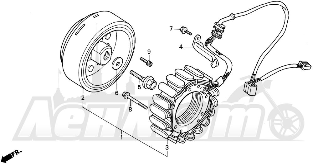 Запчасти для Мотоцикла Honda 1996 PC800 Раздел: ALTERNATOR   генератор