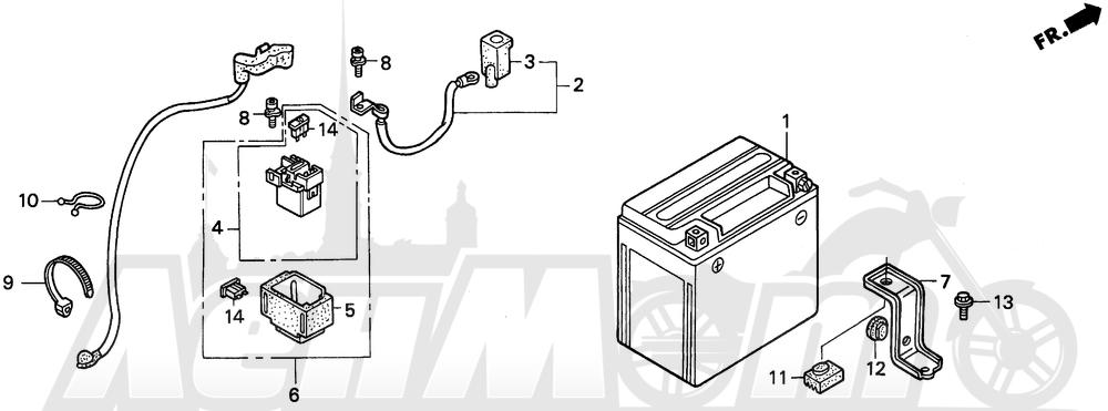 Запчасти для Мотоцикла Honda 1996 PC800 Раздел: BATTERY | аккумулятор
