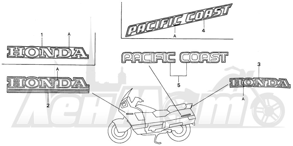 Запчасти для Мотоцикла Honda 1996 PC800 Раздел: MARK | знак
