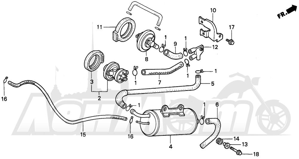Запчасти для Мотоцикла Honda 1996 PC800 Раздел: CANISTER (AC)   канистра (AC)