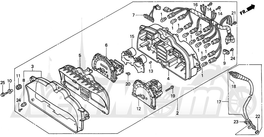 Запчасти для Мотоцикла Honda 1996 PC800 Раздел: METERS   приборы