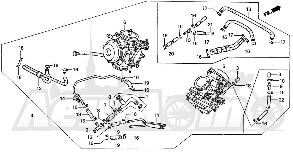 Запчасти для Мотоцикла Honda 1996 PC800 Раздел: CARBURETOR ASSY.   карбюратор в сборе.