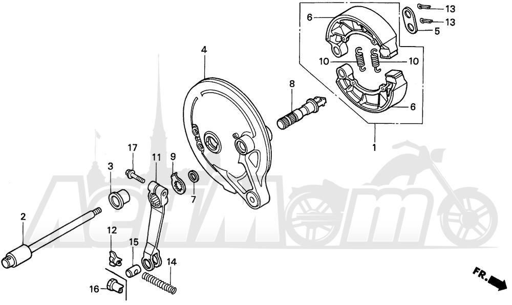 Запчасти для Мотоцикла Honda 1996 PC800 Раздел: REAR BRAKE PANEL | задний тормоз панель