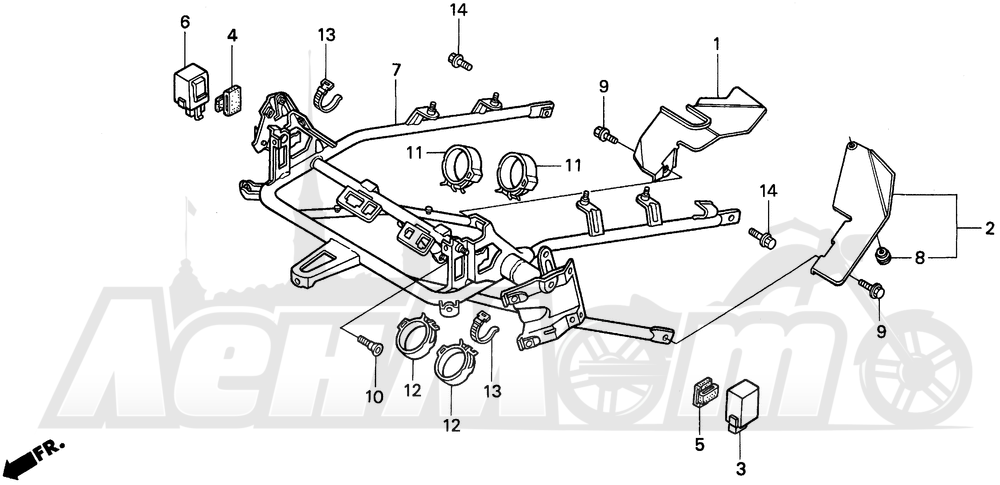Запчасти для Мотоцикла Honda 1996 PC800 Раздел: COWL STAY | обтекатель опора