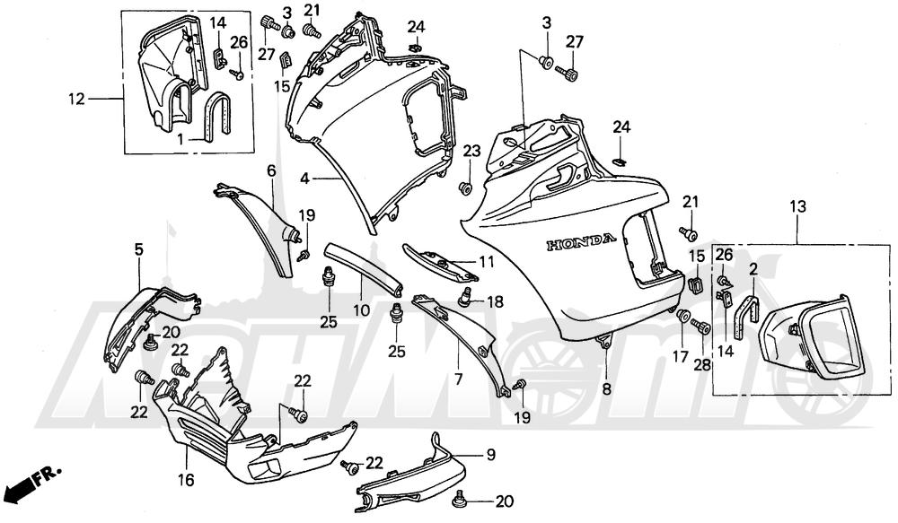 Запчасти для Мотоцикла Honda 1996 PC800 Раздел: FAIRING | обтекатель