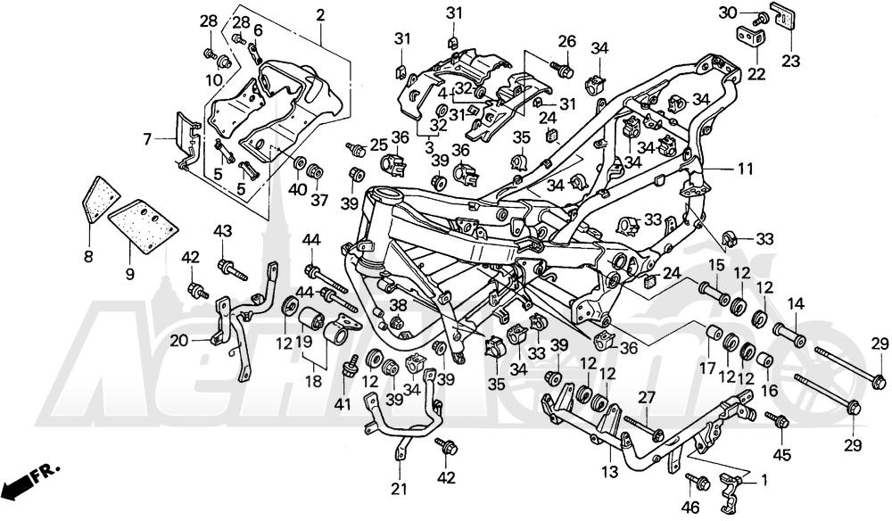 Запчасти для Мотоцикла Honda 1996 PC800 Раздел: FRAME   рама
