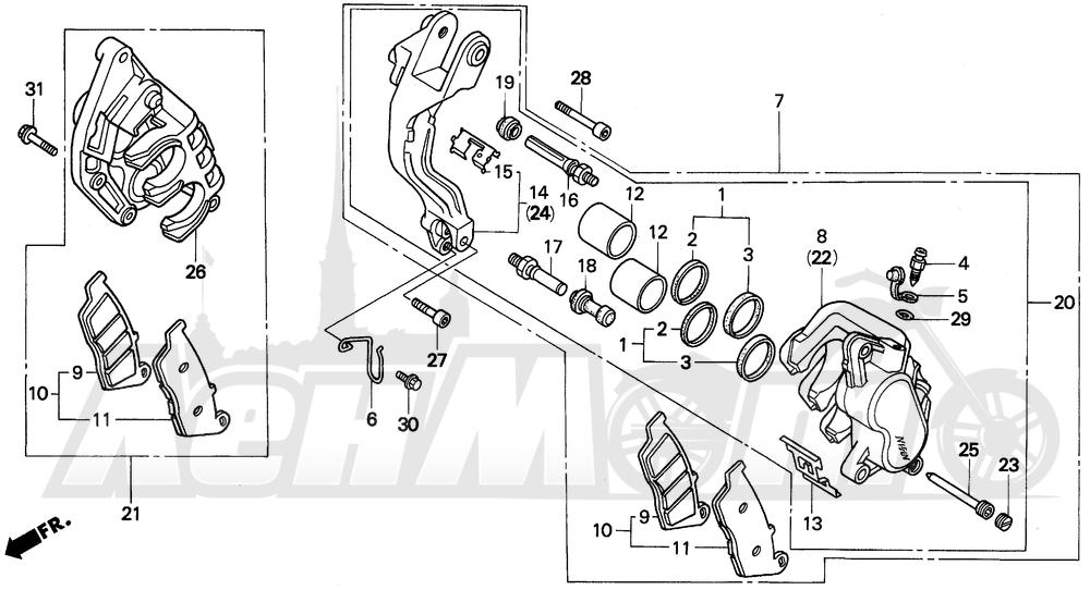 Запчасти для Мотоцикла Honda 1996 PC800 Раздел: FRONT BRAKE CALIPER | передний тормоз суппорт