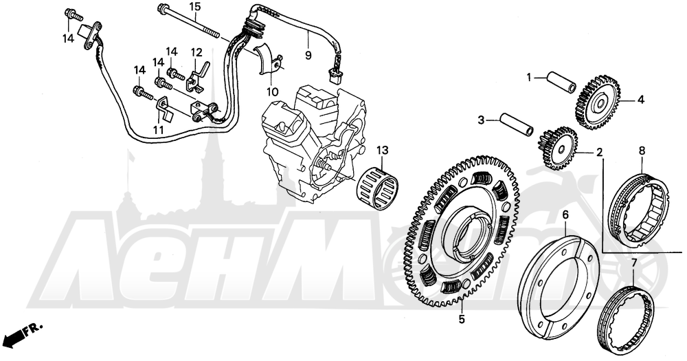 Запчасти для Мотоцикла Honda 1996 PC800 Раздел: STARTING DRIVEN GEAR   запуск ведомый шестерня