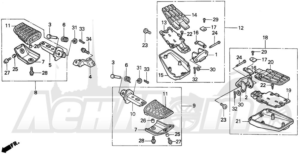 Запчасти для Мотоцикла Honda 1996 PC800 Раздел: STEP   подножка