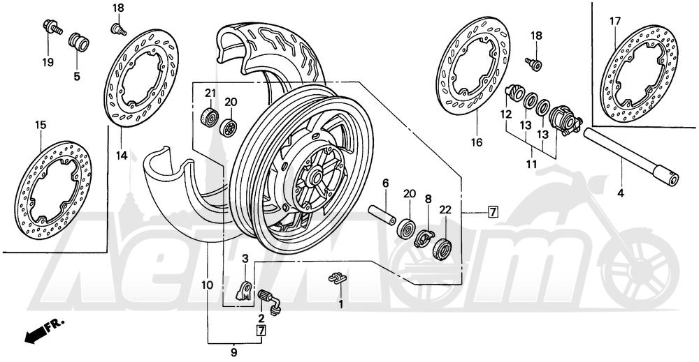 Запчасти для Мотоцикла Honda 1996 PC800 Раздел: FRONT WHEEL   переднее колесо