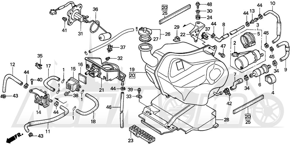 Запчасти для Мотоцикла Honda 1996 PC800 Раздел: FUEL TANK | топливный бак