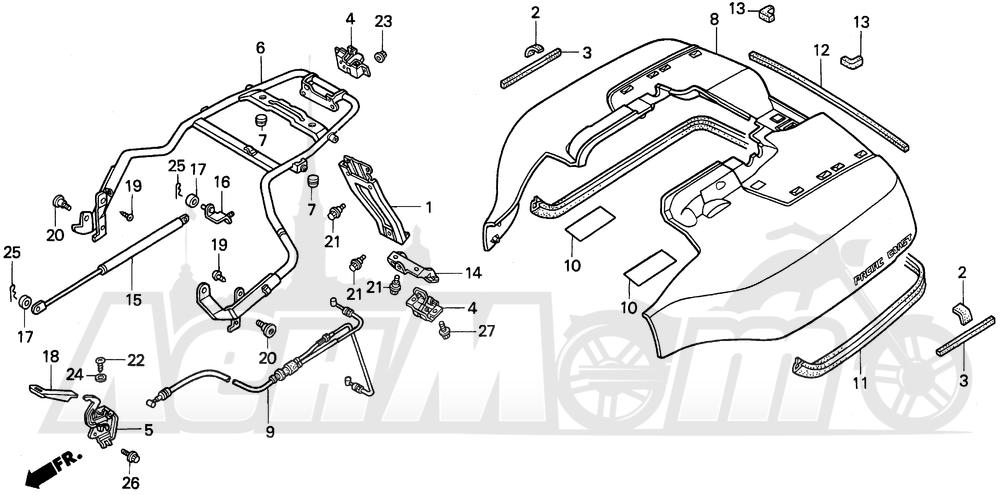 Запчасти для Мотоцикла Honda 1996 PC800 Раздел: TRUNK LID | багажник LID