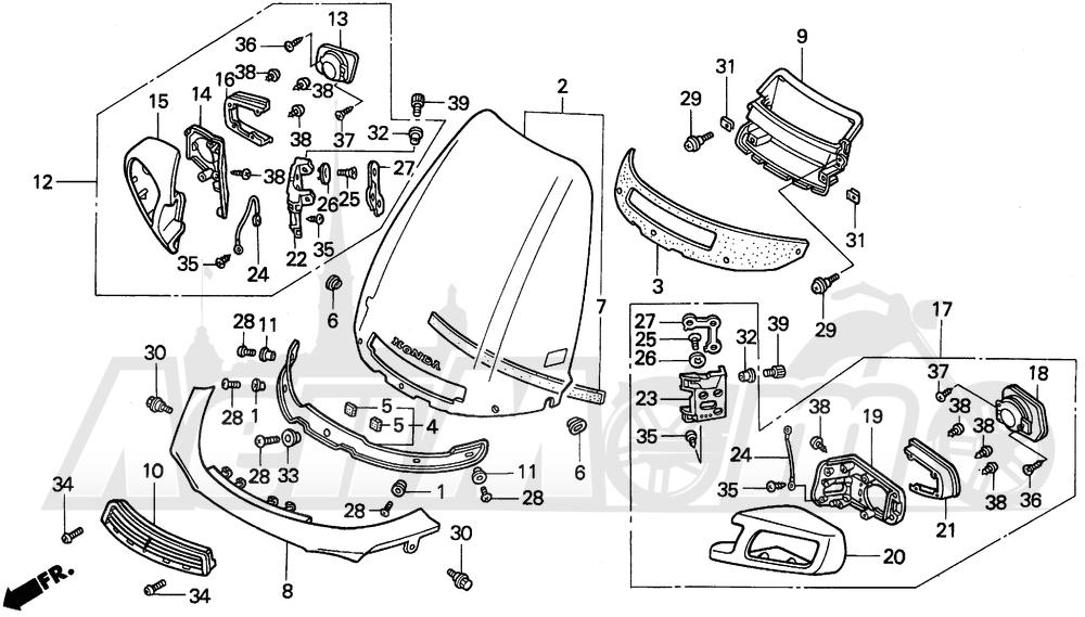 Запчасти для Мотоцикла Honda 1996 PC800 Раздел: WINDSCREEN | ветровое стекло