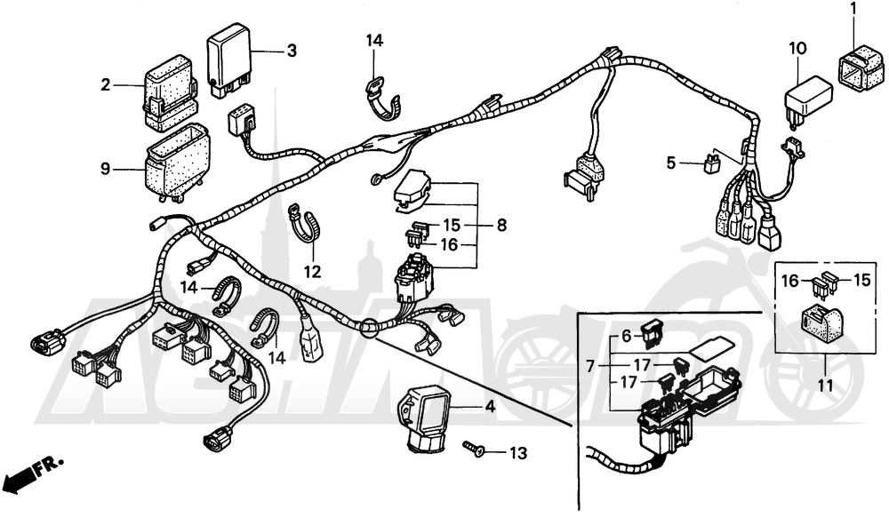 Запчасти для Мотоцикла Honda 1996 PC800 Раздел: WIRE HARNESS | жгут проводов