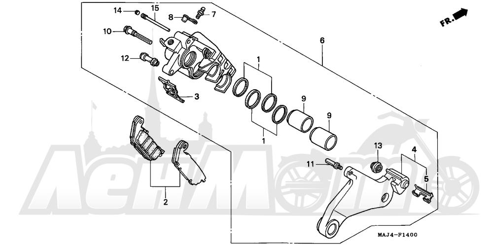 Запчасти для Мотоцикла Honda 1996 ST1100 Раздел: REAR BRAKE CALIPER 95-98   задний тормоз суппорт 95 98