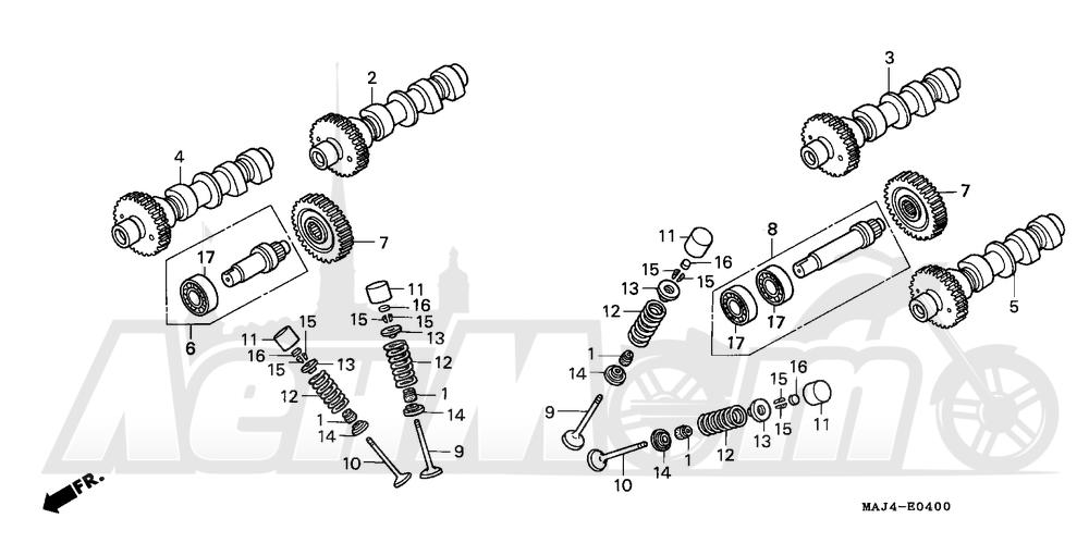 Запчасти для Мотоцикла Honda 1996 ST1100 Раздел: CAMSHAFT   распредвал