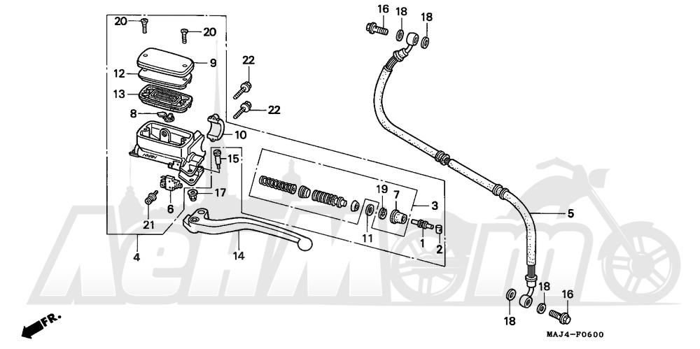 Запчасти для Мотоцикла Honda 1996 ST1100 Раздел: CLUTCH MASTER CYLINDER | сцепление главный цилиндр