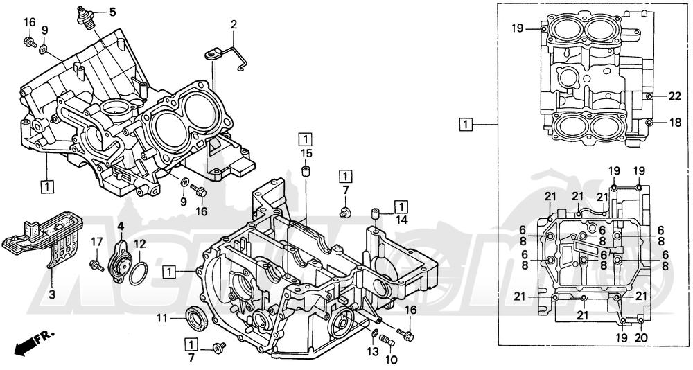 Запчасти для Мотоцикла Honda 1996 ST1100 Раздел: CRANKCASE | картер