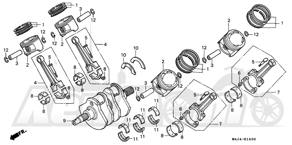 Запчасти для Мотоцикла Honda 1996 ST1100 Раздел: CRANKSHAFT | коленвал