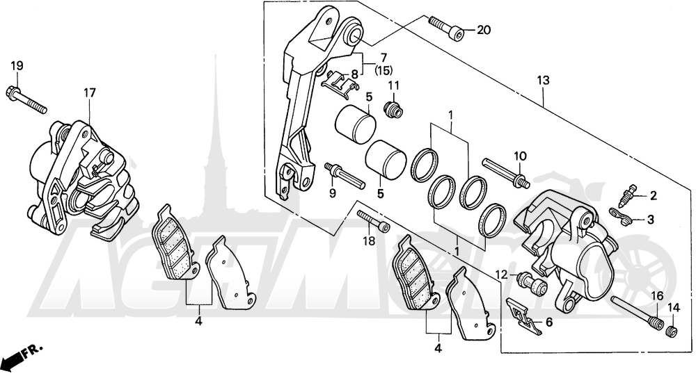 Запчасти для Мотоцикла Honda 1996 ST1100 Раздел: ST1100 FR. BRAKE CALIPER 95-98 | ST1100 перед. тормозной суппорт 95 98