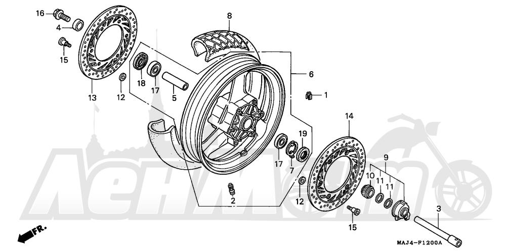Запчасти для Мотоцикла Honda 1996 ST1100 Раздел: ST1100 FRONT WHEEL | ST1100 переднее колесо