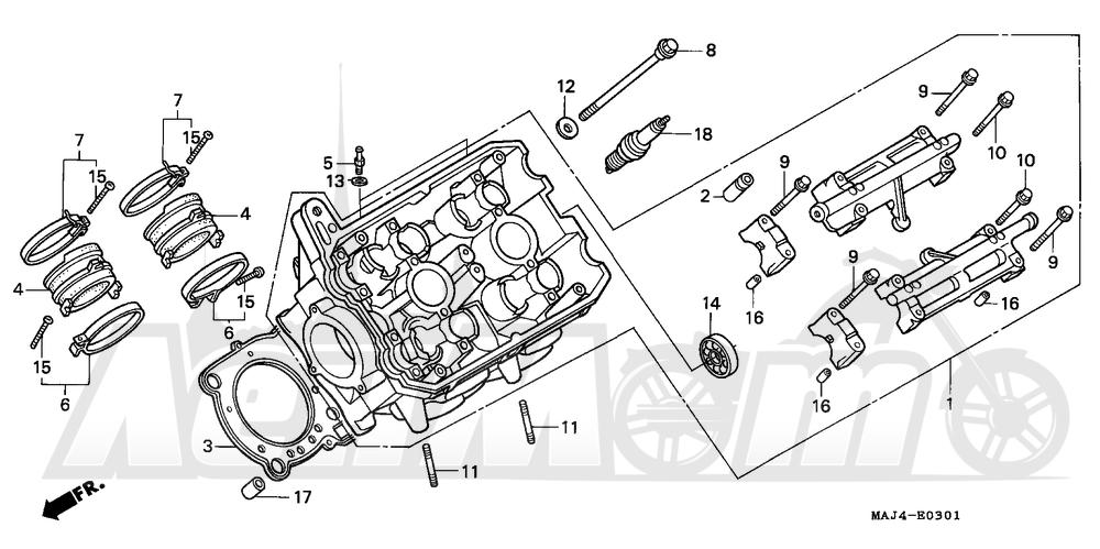 Запчасти для Мотоцикла Honda 1996 ST1100 Раздел: LEFT CYLINDER HEAD | левая сторона головка цилиндра