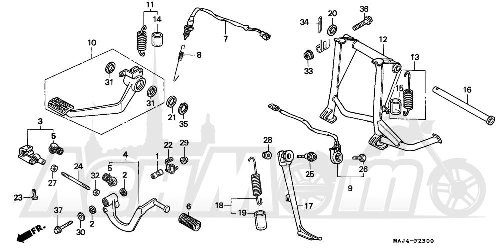 Запчасти для Мотоцикла Honda 1996 ST1100 Раздел: PEDAL   педаль