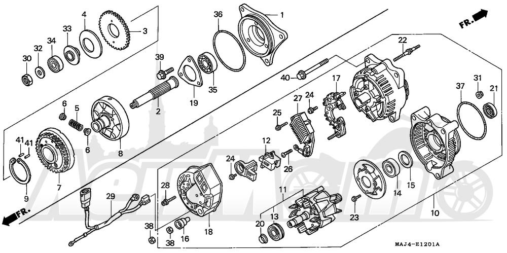 Запчасти для Мотоцикла Honda 1996 ST1100A Раздел: ALTERNATOR 96-98 | генератор 96 98