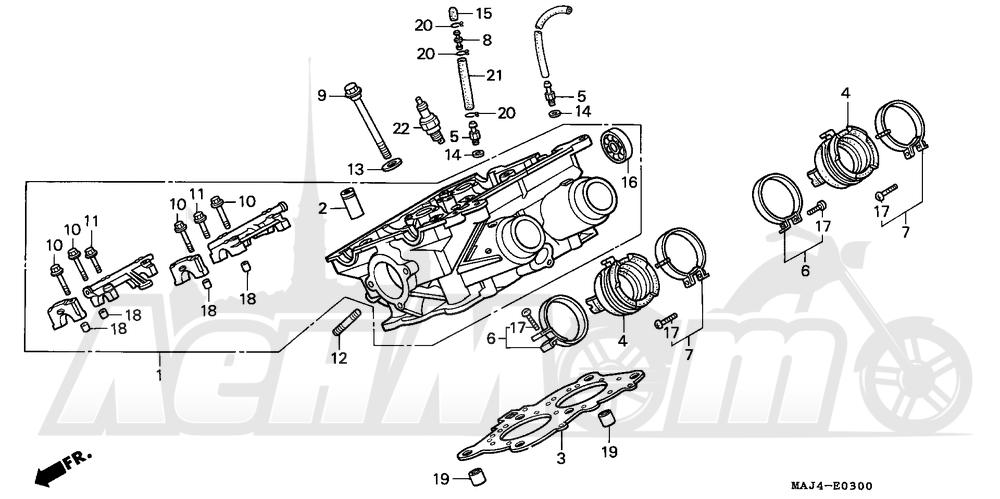 Запчасти для Мотоцикла Honda 1996 ST1100A Раздел: RIGHT CYLINDER HEAD | правая сторона головка цилиндра