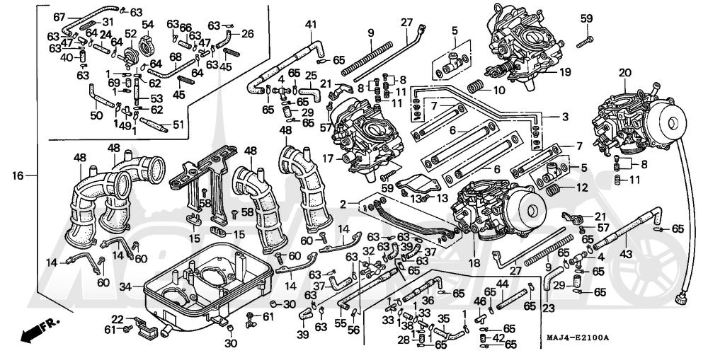 Запчасти для Мотоцикла Honda 1996 ST1100A Раздел: CARBURETOR ASSY.   карбюратор в сборе.