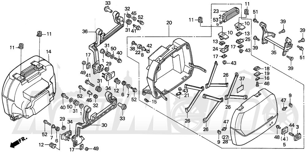 Запчасти для Мотоцикла Honda 1996 ST1100A Раздел: SADDLEBAG | седельная сумка