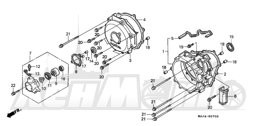 Запчасти для Мотоцикла Honda 1996 ST1100A Раздел: CLUTCH COVER | сцепление крышка