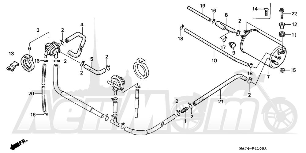 Запчасти для Мотоцикла Honda 1996 ST1100A Раздел: EVAP CANISTER AC | EVAP канистра AC
