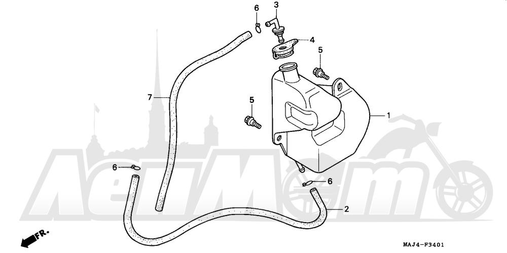 Запчасти для Мотоцикла Honda 1996 ST1100A Раздел: ST1100A RESERVE TANK | ST1100A RESERVE бак