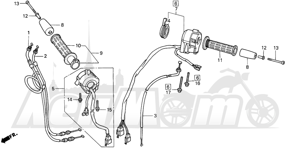 Запчасти для Мотоцикла Honda 1996 ST1100A Раздел: HANDLE SWITCH AND CABLES | ручной переключатель и тросики, кабели