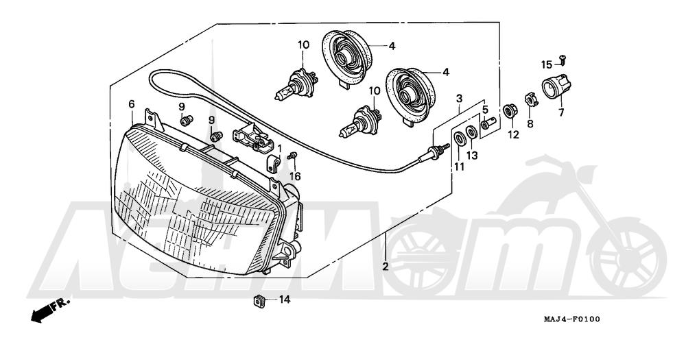 Запчасти для Мотоцикла Honda 1996 ST1100A Раздел: HEADLIGHT | передняя фара