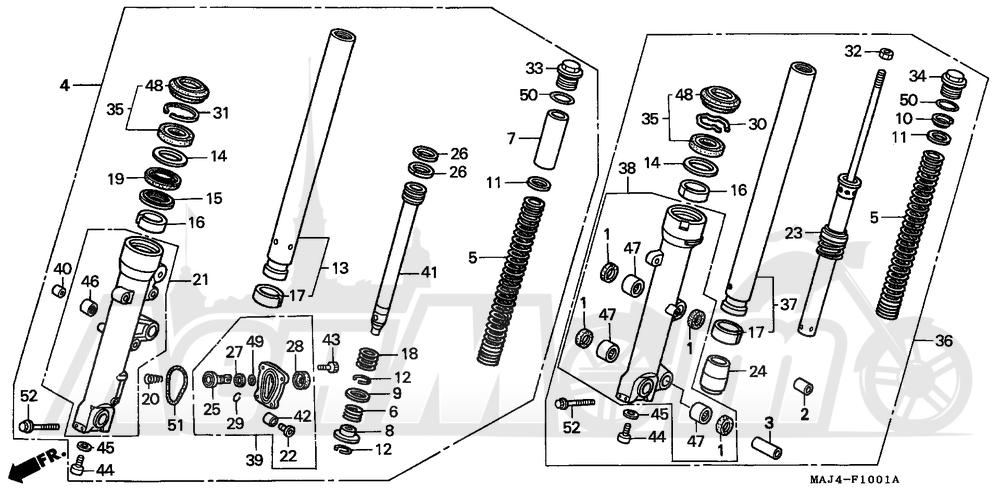 Запчасти для Мотоцикла Honda 1996 ST1100A Раздел: ST110A FRONT FORK 96-98 | ST110A передняя вилка 96 98