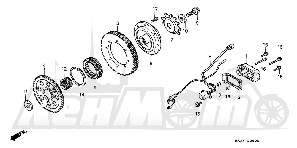 Запчасти для Мотоцикла Honda 1996 ST1100A Раздел: STARTER CLUTCH | муфта стартера