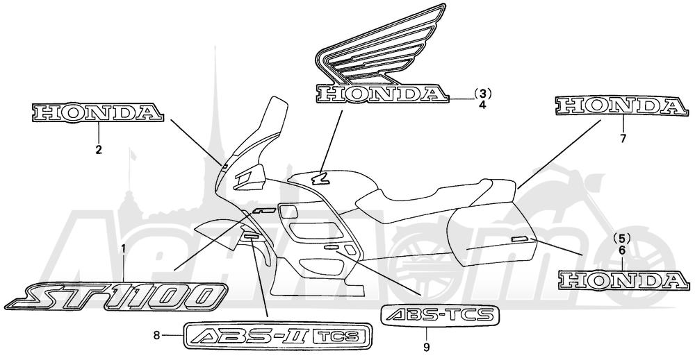 Запчасти для Мотоцикла Honda 1996 ST1100A Раздел: MARK   знак
