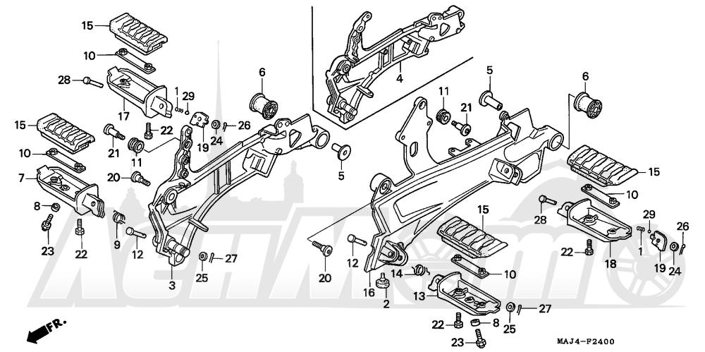 Запчасти для Мотоцикла Honda 1996 ST1100A Раздел: STEP | подножка