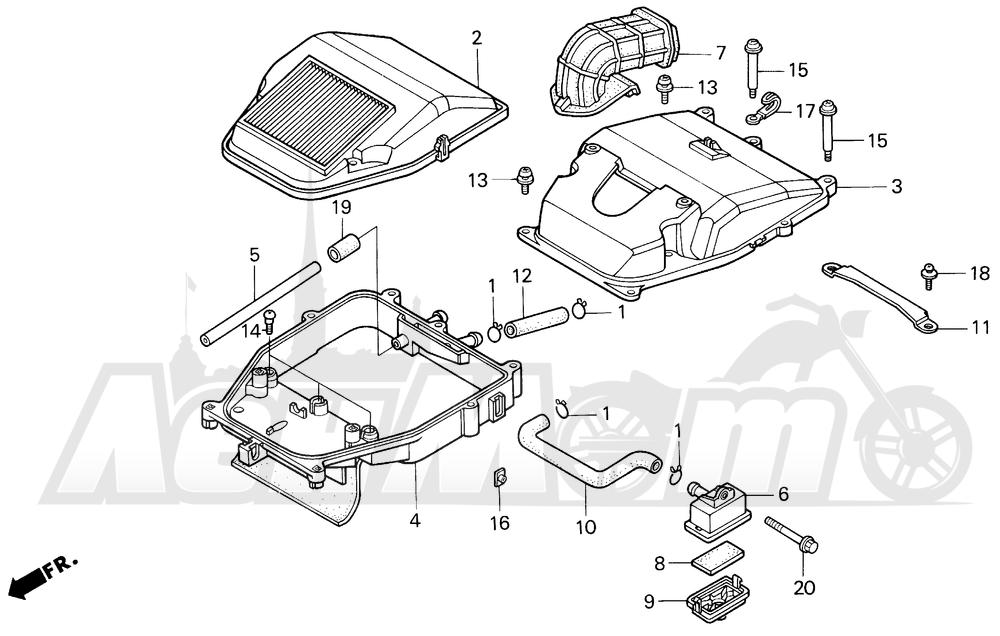 Запчасти для Мотоцикла Honda 1996 VF750C Раздел: AIR CLEANER | очиститель воздуха