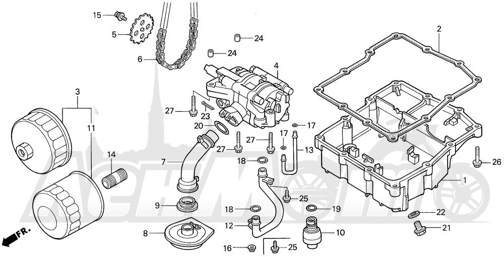 Запчасти для Мотоцикла Honda 1996 VF750C Раздел: OIL PUMP   маслянный насос