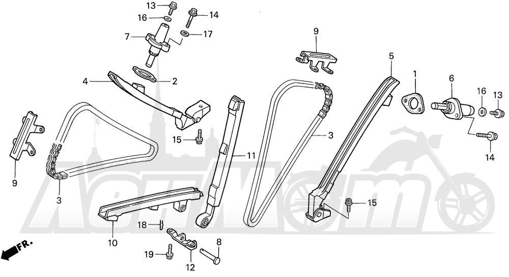 Запчасти для Мотоцикла Honda 1996 VF750C Раздел: CAM CHAIN | цепь грм